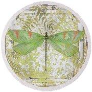 Green Dragonfly On Vintage Tin Round Beach Towel