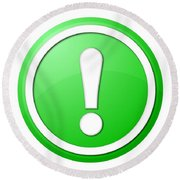 Green Exclamation Point Button Round Beach Towel