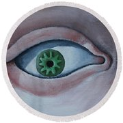 Green Eye Round Beach Towel