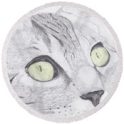 Green Eyed Cat Round Beach Towel