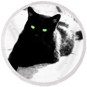 Green Eyed Kitty Round Beach Towel
