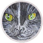Green Eyes Black Cat Round Beach Towel