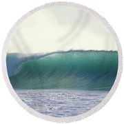 Green Feather Round Beach Towel