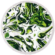 Green Fiction Round Beach Towel
