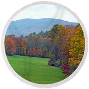 Green Field In The Fall Round Beach Towel