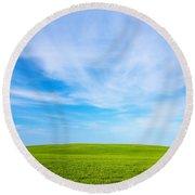 Green Field Landscape Round Beach Towel