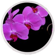 Green Field Sweetheart Orchid No 2 Round Beach Towel