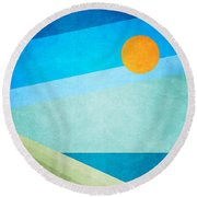 Green Fields Blue Waters Round Beach Towel