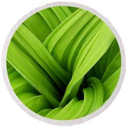 Green Folds Round Beach Towel