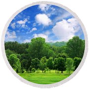 Green Forest Round Beach Towel