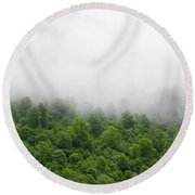 Green Forest With Clouds Round Beach Towel
