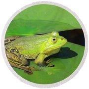 Green Frog Round Beach Towel