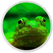 Green Frog Poster Round Beach Towel