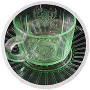 Green Glass Cup And Saucer Round Beach Towel