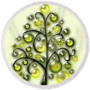 Green Glass Ornaments Round Beach Towel