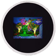 Green Goddess With Waterfall Round Beach Towel
