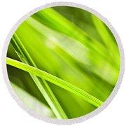 Green Grass Abstract Round Beach Towel