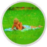 Green Grass Girl Round Beach Towel