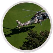 Green Grass Landing  Round Beach Towel