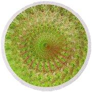 Green Grass Swirled Round Beach Towel