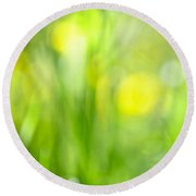 Green Grass With Yellow Flowers Abstract Round Beach Towel by Elena Elisseeva