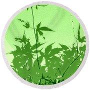 Green Green Haiku Round Beach Towel