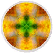 Green Heart Rainbow Light Mandala Round Beach Towel