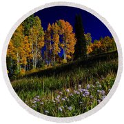 Green Hills Of Earth Round Beach Towel