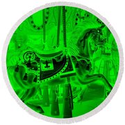 Green Horse Round Beach Towel