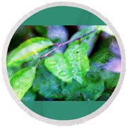 Green Leaf As A Painting Round Beach Towel