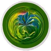 Green Leaf Orb Round Beach Towel