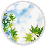 Green Leaves On Mottled Cloudy Sky Round Beach Towel