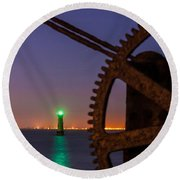 Green Lighthouse Round Beach Towel