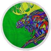 Green Mega Moose Round Beach Towel