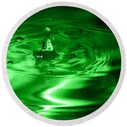 Green Multi Colored Water Drop Bubbling Round Beach Towel