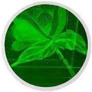 Green Negative Wood Flower Round Beach Towel