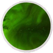 Green Northern Lights Night Sky Abstract Backdrop Round Beach Towel