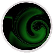 Green On Black 1 Round Beach Towel