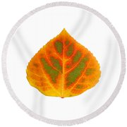 Green Orange Red And Yellow Aspen Leaf 5 Round Beach Towel