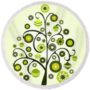 Green Ornaments Round Beach Towel