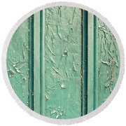 Green Painted Wood Round Beach Towel