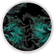Green Paisley - A Fractal Abstract Round Beach Towel