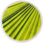 Green Palm Frond Round Beach Towel