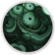 Green Patterns Of Malachite Round Beach Towel