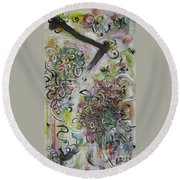 Green Pink Brown Abstract Art Spring Color Blossom Flower Butterfly Painting Abstract Acrylic Ink Ar Round Beach Towel