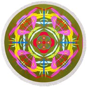 Green Pink Yellow Abstract Round Beach Towel