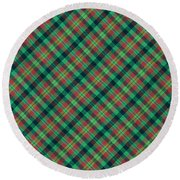 Green Red And Black Diagonal Plaid Textile Background Round Beach Towel