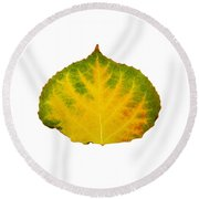 Green Red And Yellow Aspen Leaf 2 Round Beach Towel
