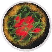 Green Red Gold Abstract Round Beach Towel