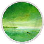 Green Reflection Round Beach Towel